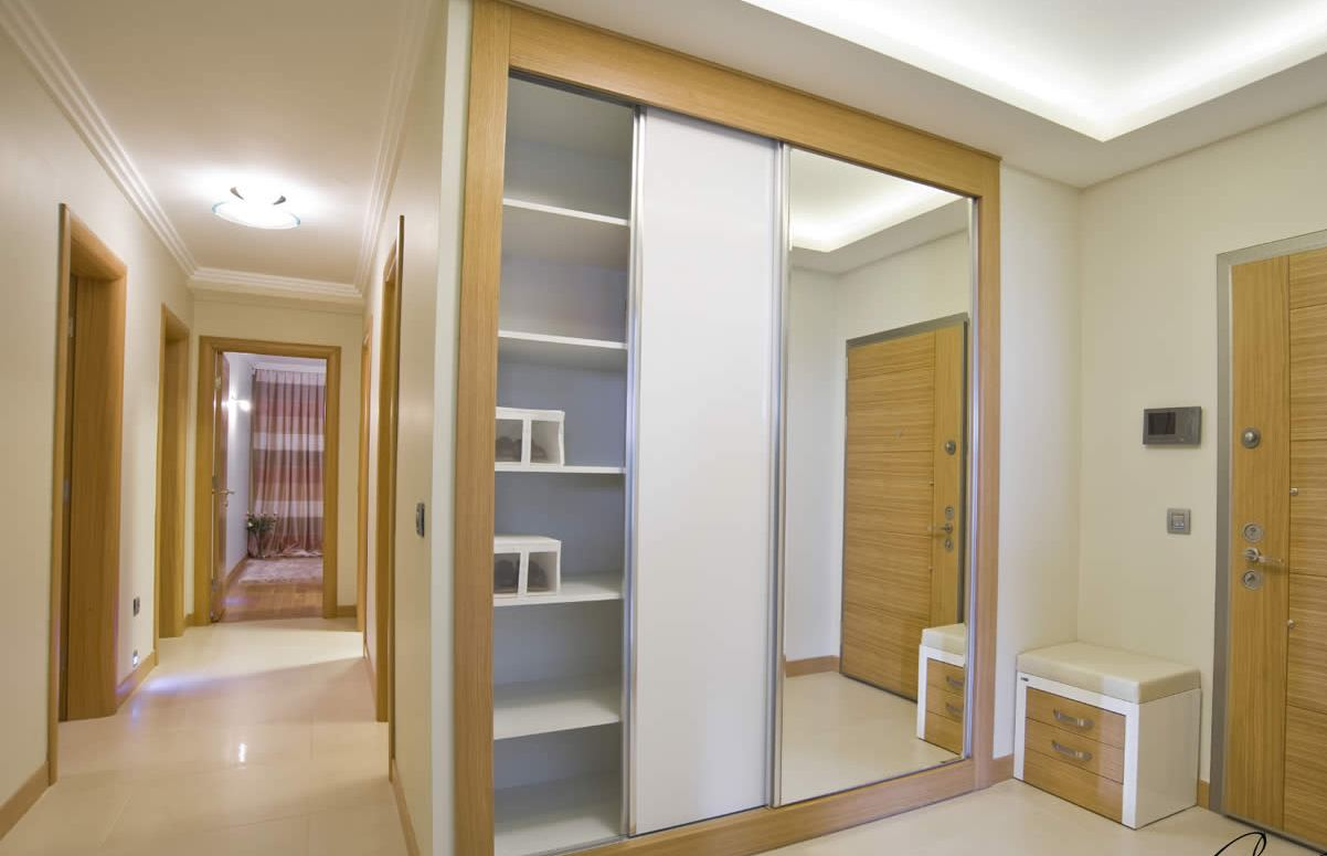new modern storage capacity of a hall closet or a bedroom wardrobe for storing